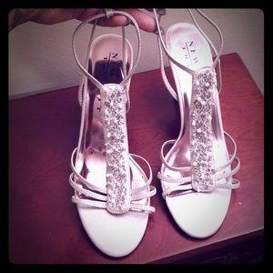 Women's silver heel sandals